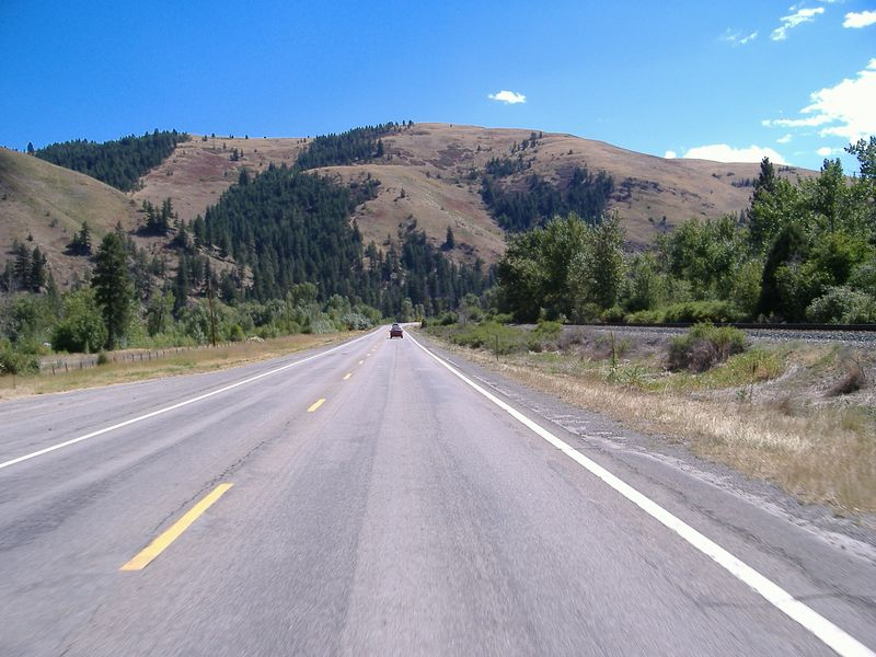 Highway 2, circumambulating the southern edge of Glacier National Park.  Heading west.