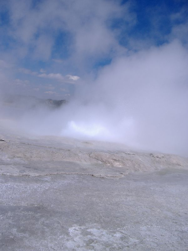 Erupting Geyser, Monument Geyser Basin, Yellowstone National Park.