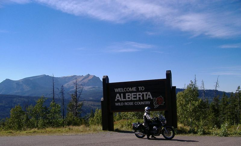 At the entrance to Alberta.  We're now International Riders!!