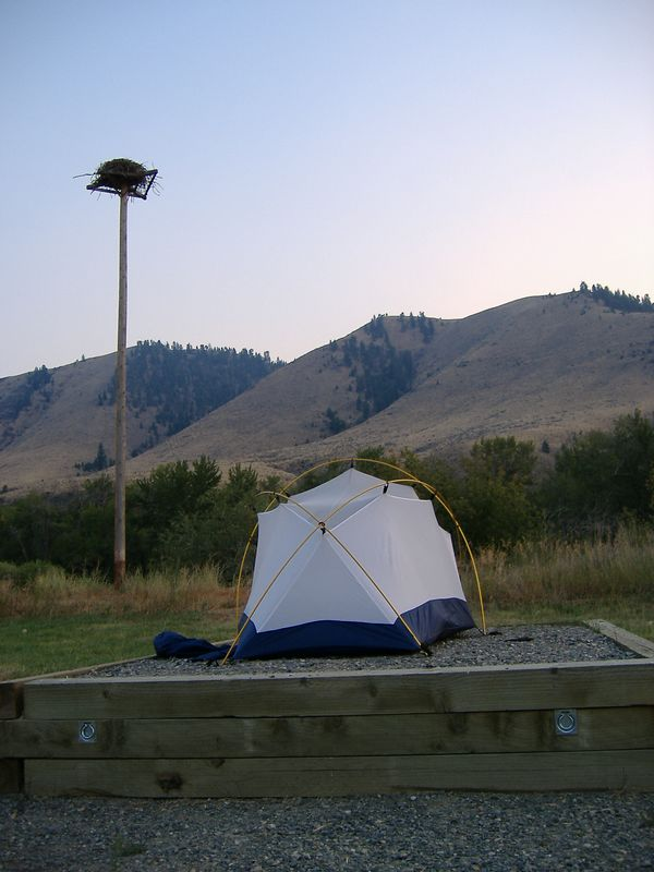 Campsite at Tower Rock BLM Campground.<br /> Elevated tent pad and nest -- no additional charge!<br /> <br /> PS:  If there is no water at the BLM campgrounds, there is no camping fee.