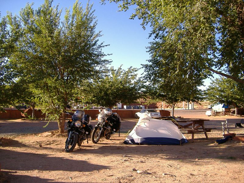 Day 1.  Campsite in the courtyard of the motel at Mexican Hat, Utah.  $10 included hot showers and clean restrooms.