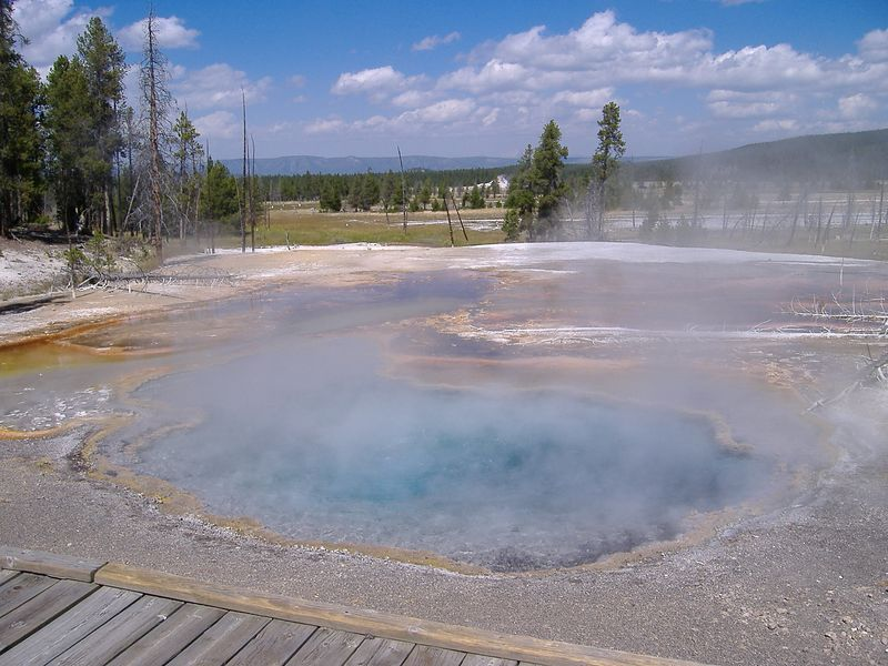 Hot spring along Firehole Lake Drive, Yellowstone National Park.