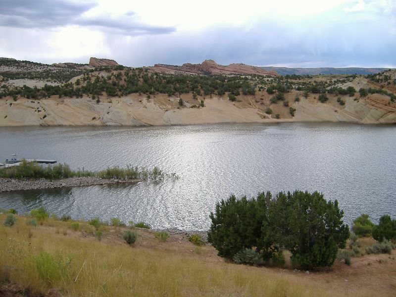 View of the lake at Red Fleet, and the park's namesake...a rock formation that resembles ships on a stormy sea.  So they say!