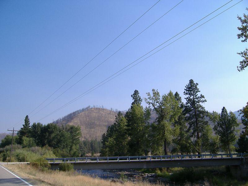 Fire damage and smoke, Highway 93 near the MT/ID border (Montana side).