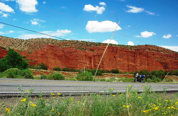 Red rock cliffs at Jemez Pueblo, New Mexico.