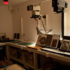 The darkroom where we were based, dotted around the room are the glass plates that we used to print from.