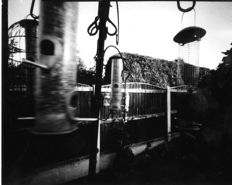 Pinhole on positive paper, bird feeders in my garden, exposure was about 3 minutes during which time birds were actually feeding, hence the reason for the movement of the feeders.  Because depth of field is so good all of the feeders were in focus.
