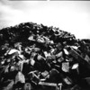 Pinhole on positive paper, a pile of bricks, the sky was a bit cloudy but it was a bright day. exposure was around 1min 45 secs