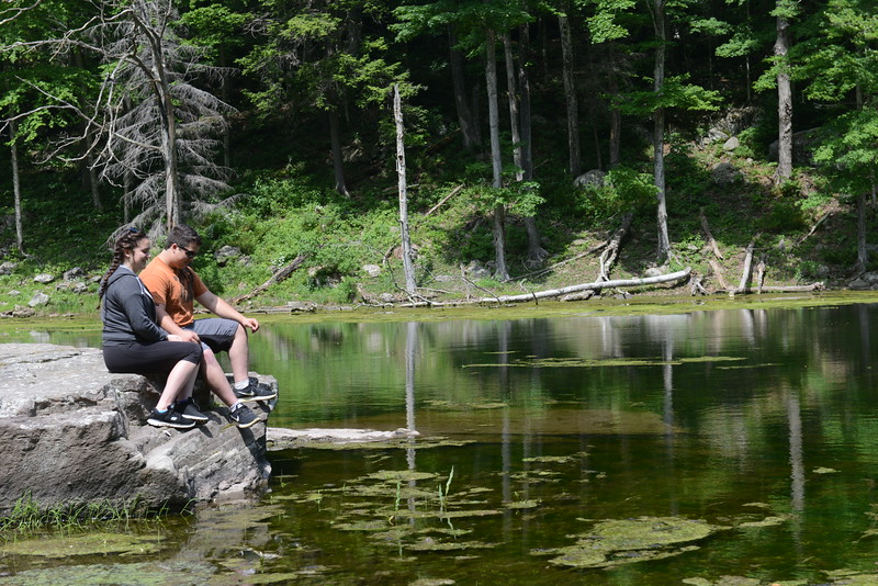 Emma Baldwin of Willow and Christoff Seivers of Woodstock enjoy a stop at Notch Pond  in the town of Hunter recently.