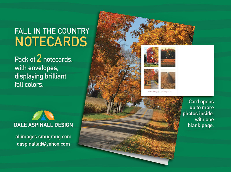"Fall in the Country Notecards - 3.5""X5"" - With Envelopes - Left Page Has 4 Photos and Right Hand Page is Blank"