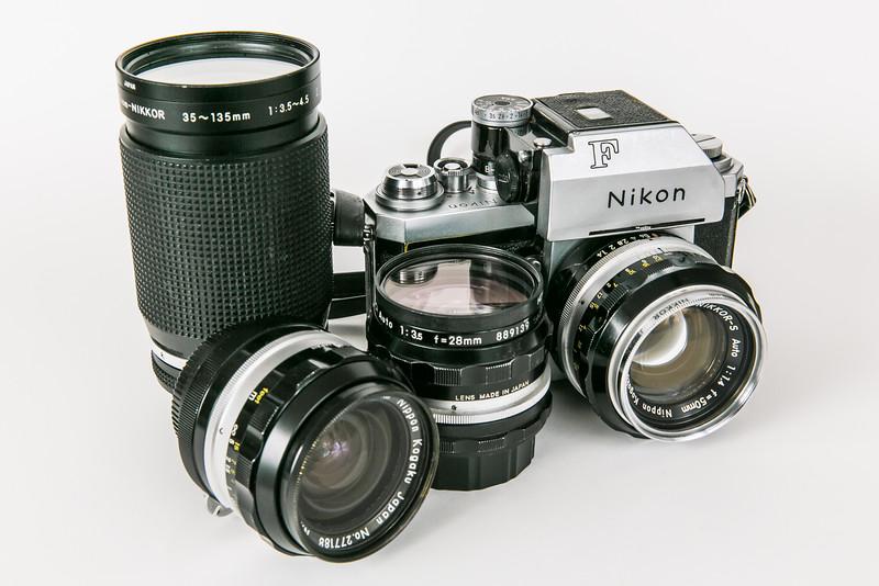 1966 Nikon F Photomic-T with Nikkor lenses: 50mm/f1.4, 24mm/f2.8, 28mm/f3.5, 35-135mm/f3.5-4.5.