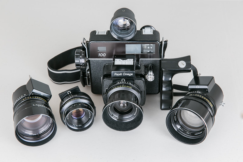 1975 Rapid Omega 100 with the complete set of available lenses: Konica Hexanon 135mm f/3.5, Super Omegon 90mm/f3.5, Wide Omegon 58mm/f5.6 (with accessory viewfinder) & Koni-Omega Hexanon 180mm/f4.5