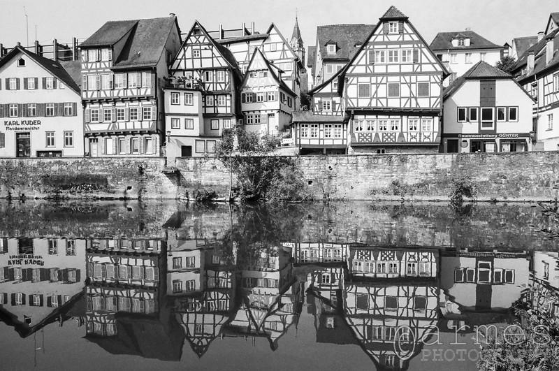 Houses next to the river Kocher, Schwäbisch Hall, Baden-Württemberg, Germany