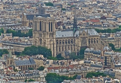 Notre Dame from the Tour (tower) Montparnasse.