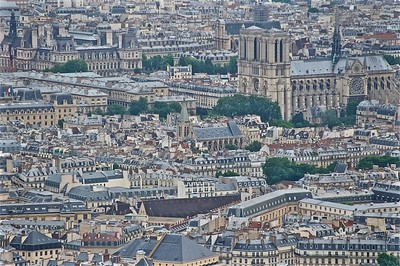 Saint Severin in the center with Notre Dame in upper left