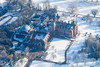 Aerial photo of Kelham Hall in Nottinghamshire after heavy snowfall.