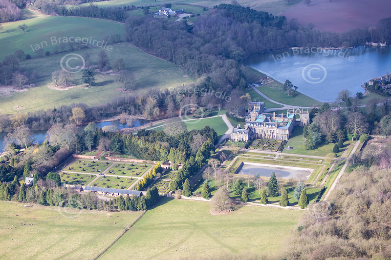 Newstead Abbey from the air.