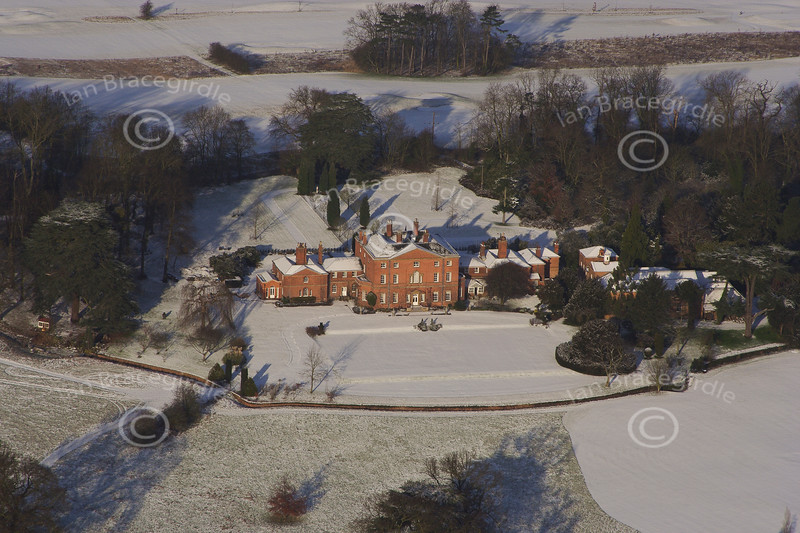 An aerial photo of Norwood Hall in Norwood Park, Southwell, Nottinghamshire.