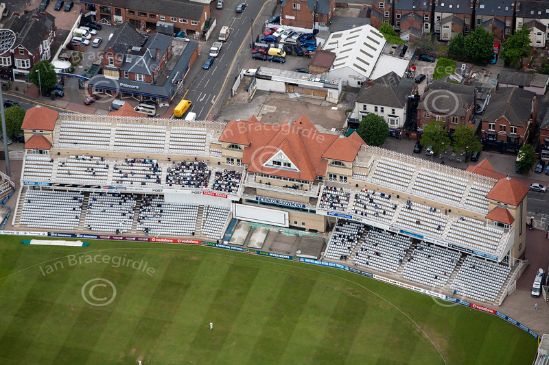 Trent Bridge Cricket Ground in Nottingham from the air.