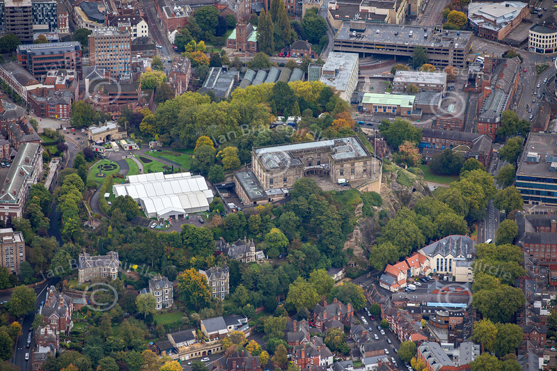 Aerial photo of Nottingham Castle.
