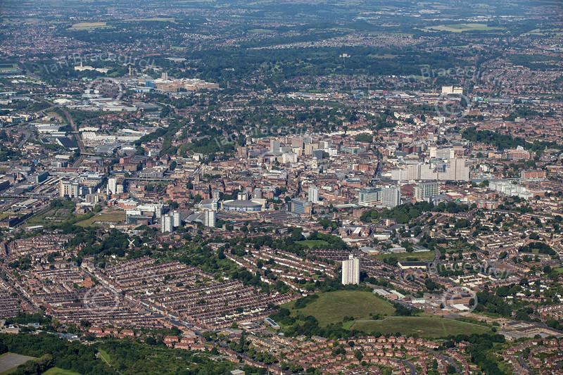 Aerial photo of Nottingham.