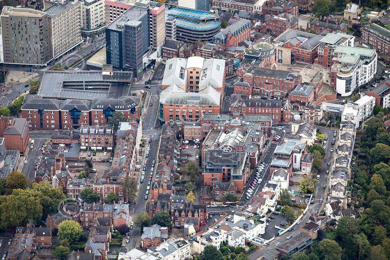 Aerial photo of Nottingham City Centre.