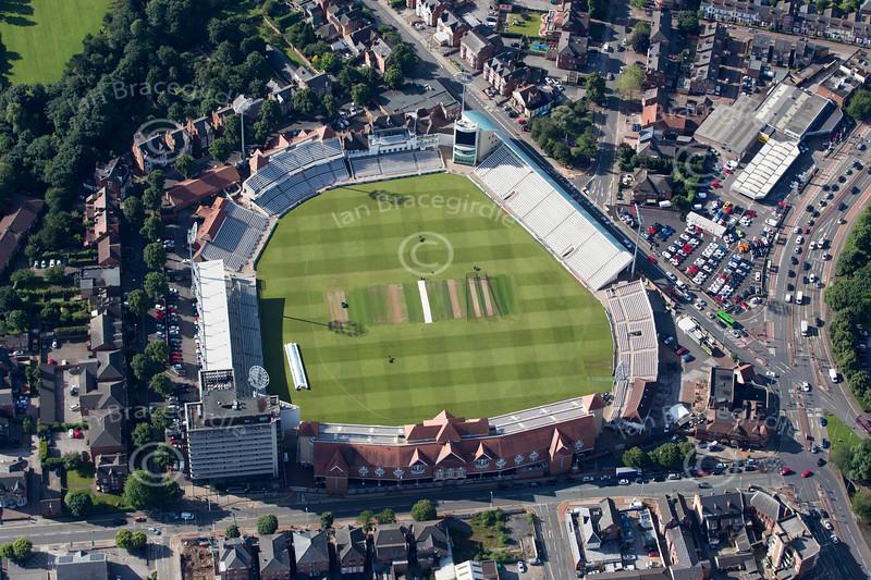 Aerial photo of Trent Bridge cricket ground.