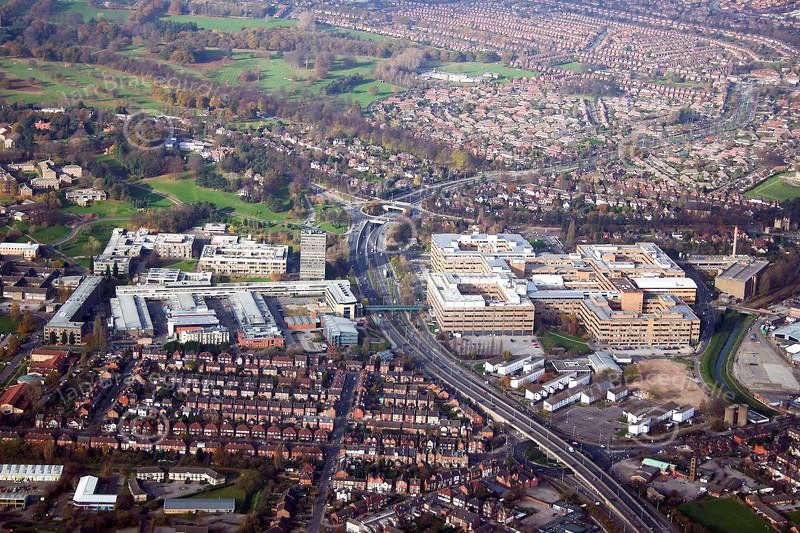 Aerial photo of Queens Medical Centre in Nottingham.