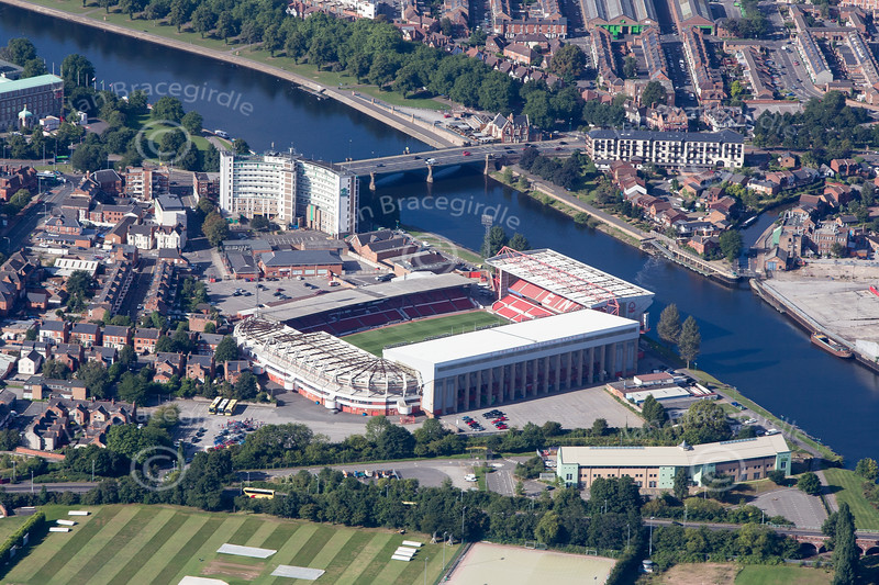 Nottingham Forest Football Club from the air.