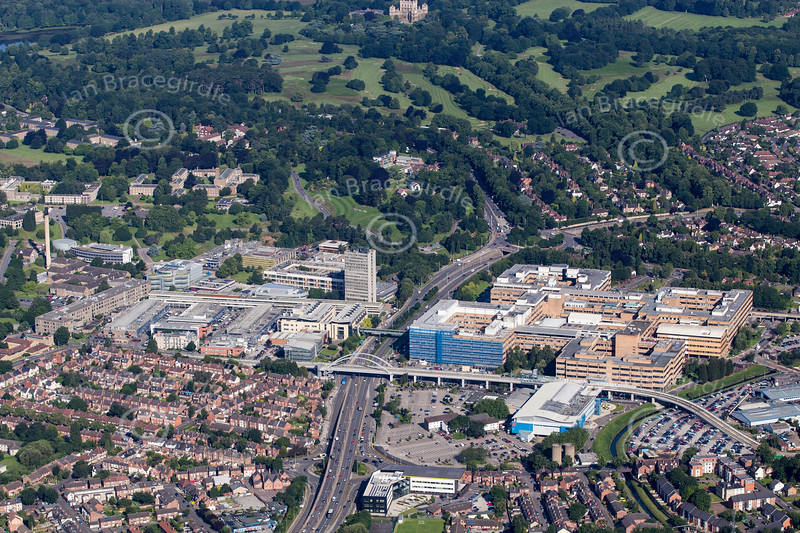 Aerial photo of The Queen's Medical Centre.