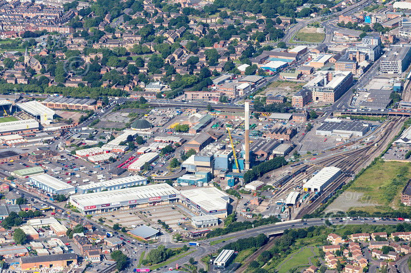 Aerial photo of the Cattle Market area of Nottingham.