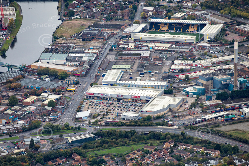 Aerial photo of Lady Bay Retail Park.