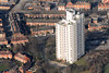 Tower block in Nottingham from the air.