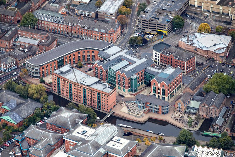 Aerial photo of Nottingham's Waterside.