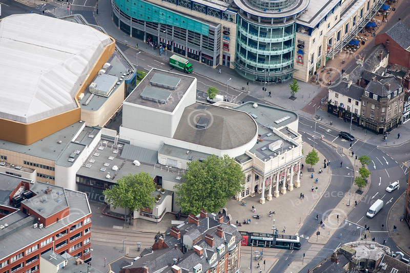 Aerial photo of Nottingham's Theatre Royal Concert Hall.