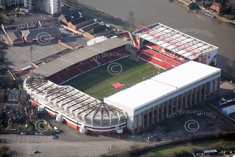 The City Ground football stadium in Nottingham from the air.