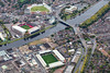 Aerial photo of Nottingham's three main sporting grounds.