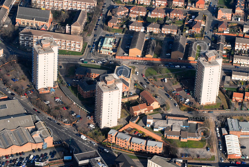 High rise housing in Nottingham from the air.