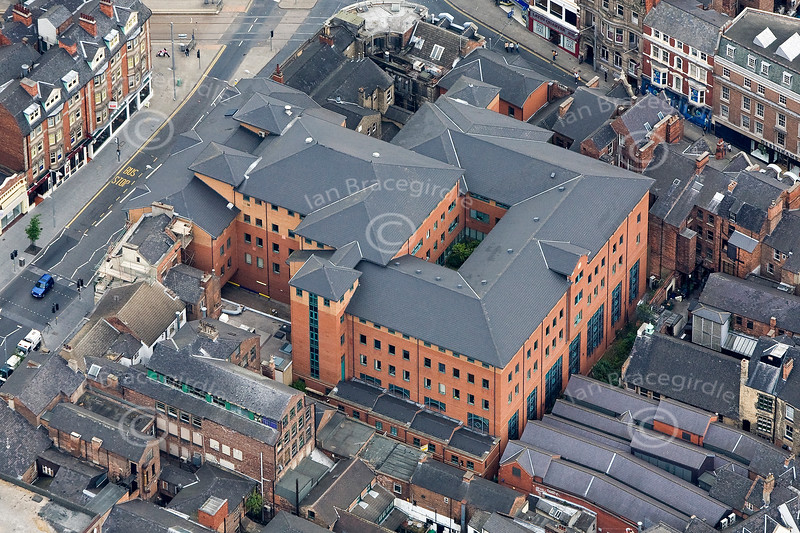 Upper Parliament Street in Nottingham from the air.