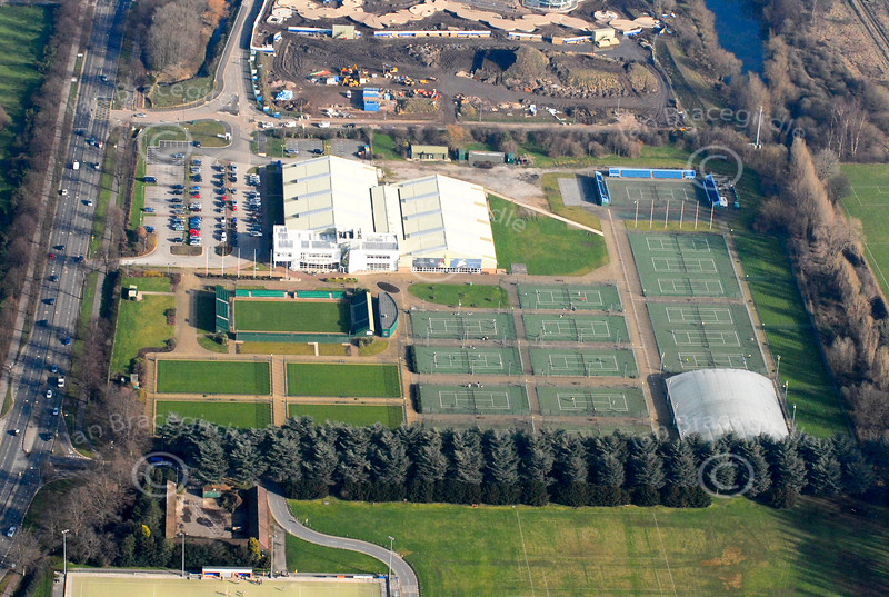 Tennis courts in Nottingham from the air.