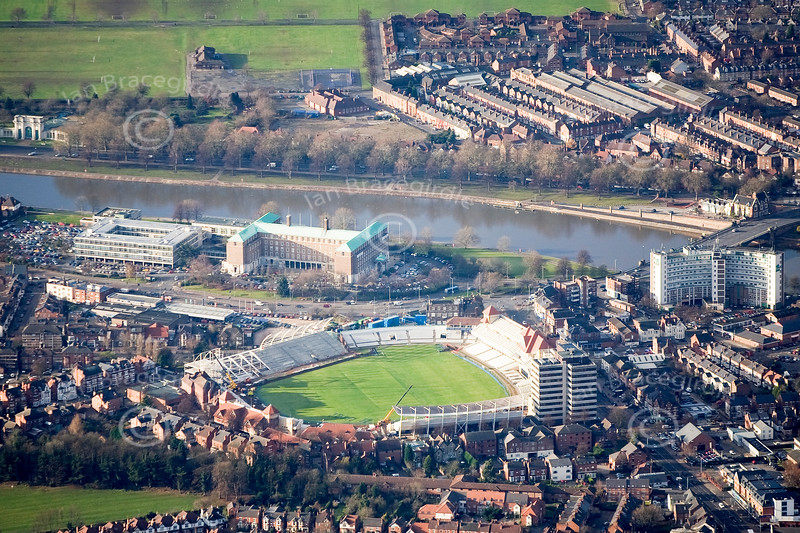 Trent Bridge in Nottingham from the air.