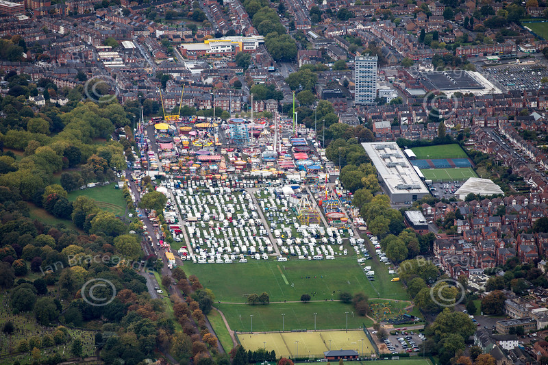 Aerial photo of Goose Fair.