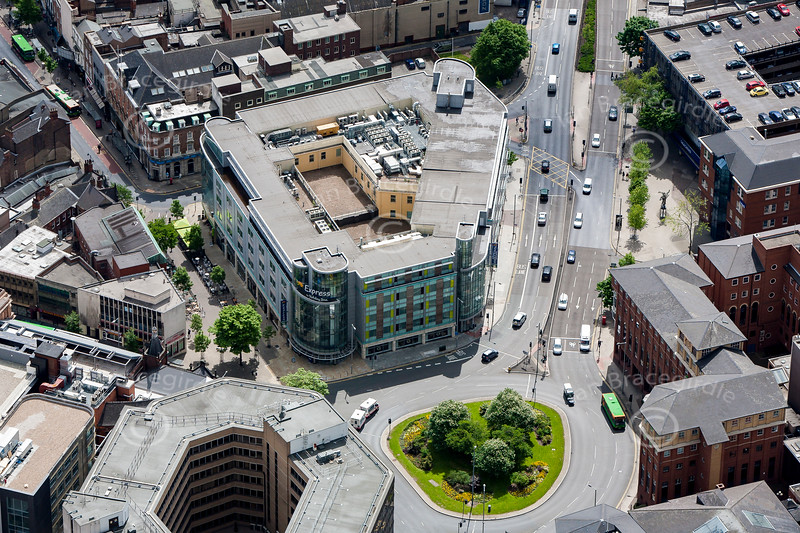 Aerial photo of the Holiday Inn.