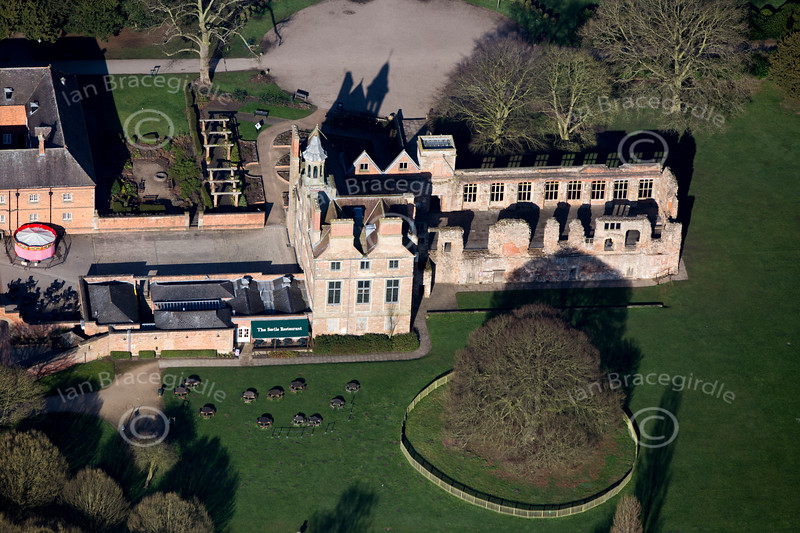 Rufford Abbey from the air.