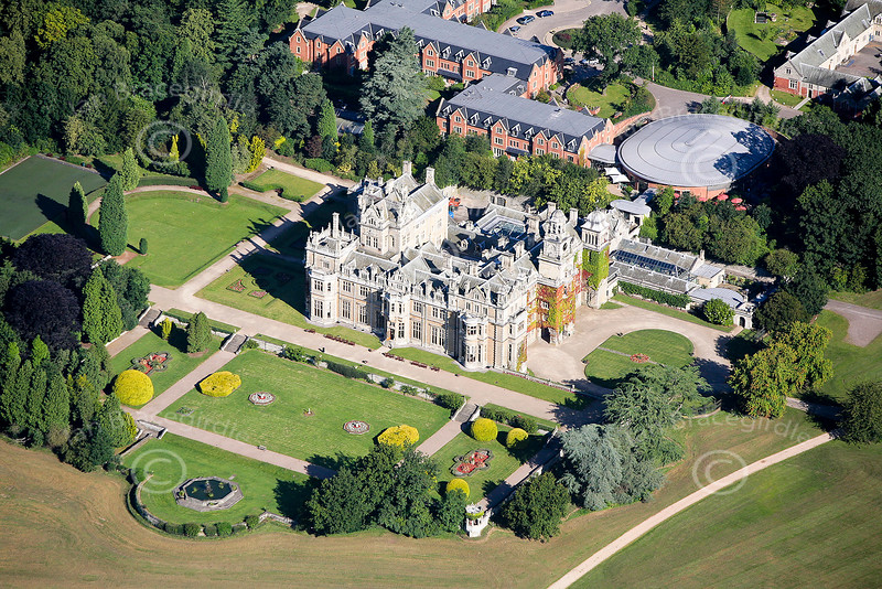 Thoresby Hall in Nottinghamshire from the air.