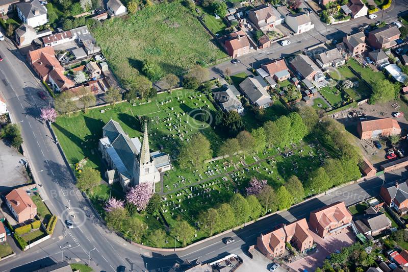 A stock aerial photo of Balderton Church near Newark on Trent in Nottinghamshire.
