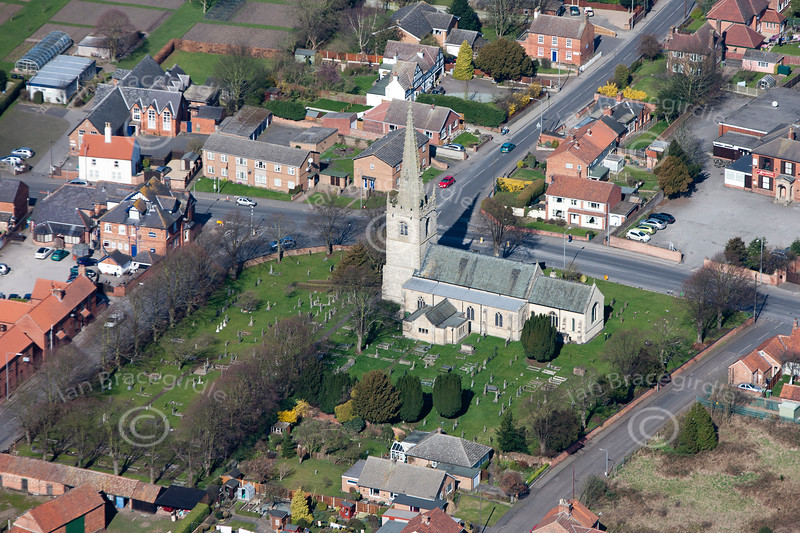 A stock aerial photo of Balderton Church in Nottinghamshire.