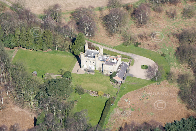 An aerial photo of Budby Castle.