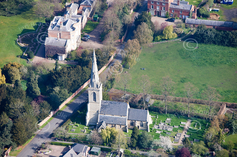 Aerial photo of Carlton On Trent church.