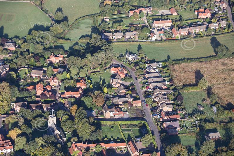 An aerial photo of Caunton village in Nottinghamshire.